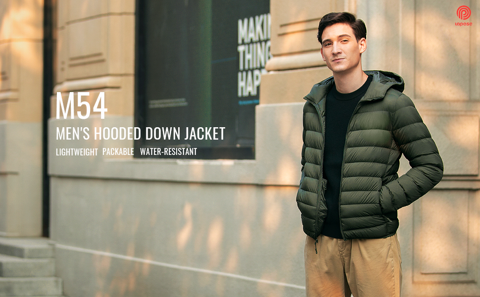 down filled jacket men lightweight water resistant down jacket breathable windproof packable hooded