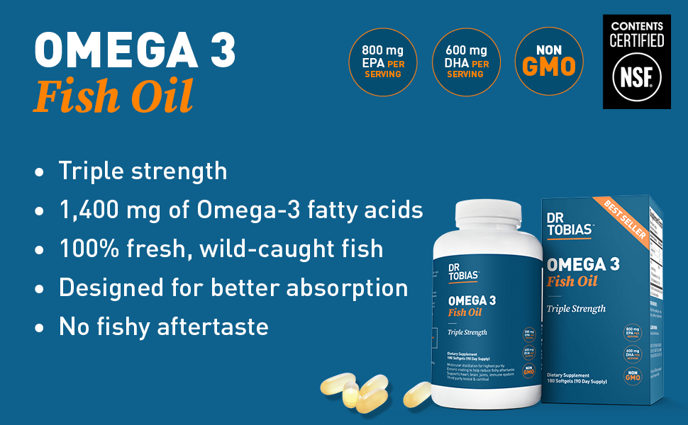 Dr Tobias, omega 3 fish oil, triple strength, no fishy aftertaste, wild-caught, fresh, wild