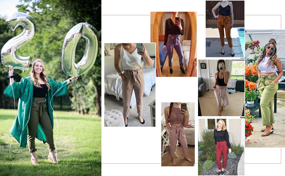 Pantalones Casuales de Cintura Alta Mujer