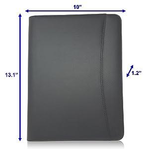 Black Faux Leather Portfolio Resume Interview Folder Organizer Zipper Binder Case Dimensions