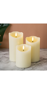 ivory flameless pillar candles