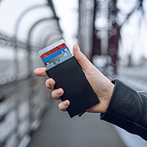 VULKIT card holder pop up wallet RFID blocking NFC protection metal card case