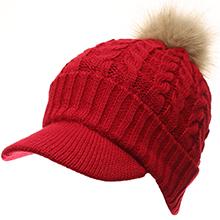 MIRMARU Women's Winter Warm Cable Knitted Visor Brim Pom Pom Beanie Hat with Soft Sherpa Lining.