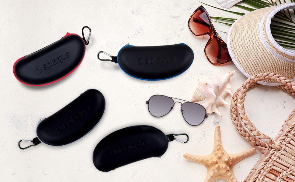 Sunglasses Soft Case Ultra Light Neoprene Lumberjack Buffalo Plaid Red Black Zipper Eyeglass Case with Belt Clip
