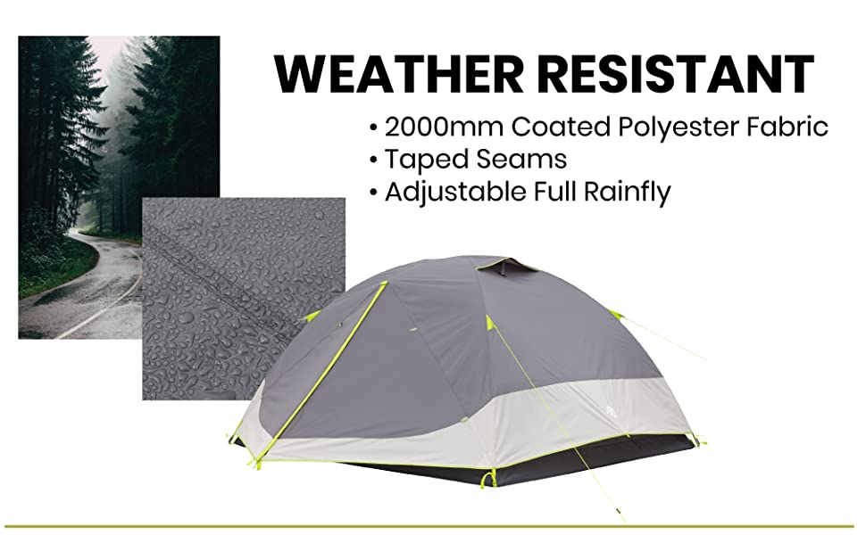 weather proof water proof tent ventilated wind proof rainfly outdoor waterproof compact backpacking