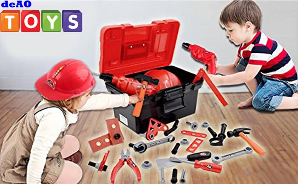 deAO Caja de Herramientas Juego Infantil Playset Conjunto de Herramientas de Taller y Bricolaje Maletín de Plástico Portable Incluye Taladro Eléctrico