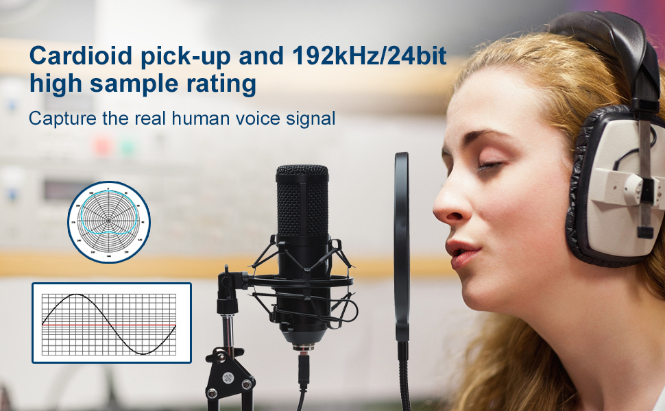 Cardioid pick-up and 192kHz/24bit high sample rating