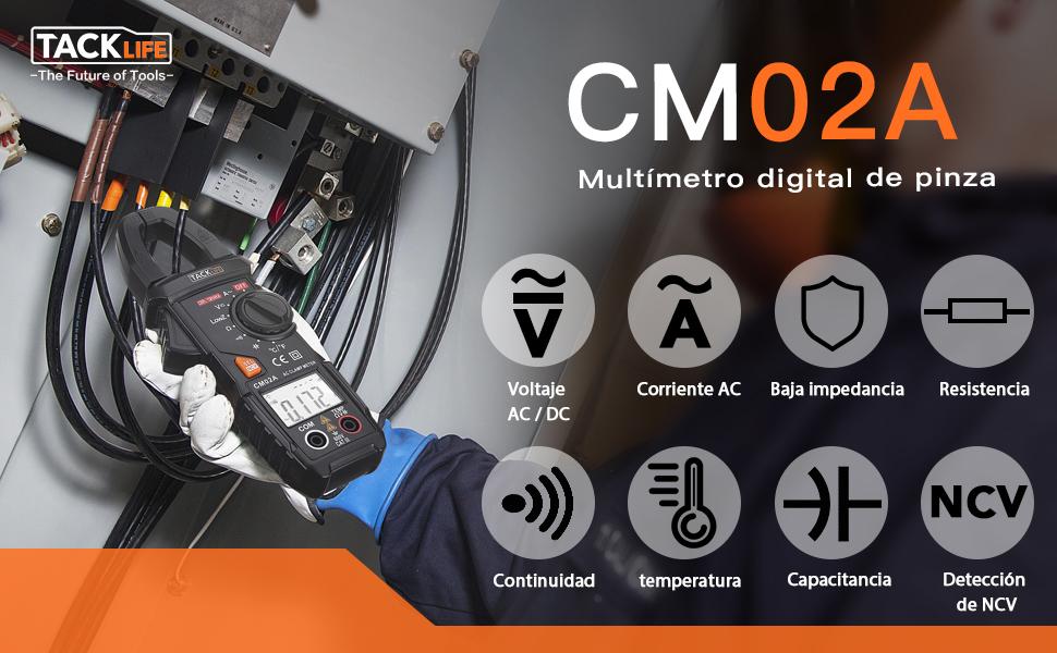 Pinza Amperímetro, TACKLIFE 6000 Cuentas Multímetro, Detección de ...