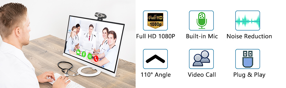 1080P Webcam with Privacy Cover