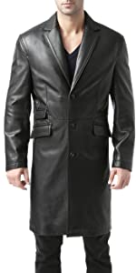 BGSD Men's New Zealand Lambskin Leather Long Coat