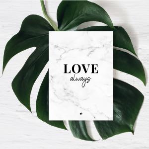 Donari Postkarte Love Always mit Marmor Look