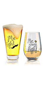 mr right and mrs always rightwine glass libbey funny saying birthday holiday christmas gifts for her