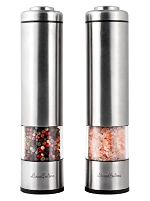 Salt and Pepper Grinders Set 9 x 2  Large Battery Electric Kitchen Grinder Great for Dried Spice Herb and Sal Pink Himalayan Mill Set 2X Stainless Steel