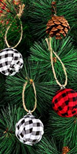 Buffalo Plaid Fabric Ball Hanging Ornament Decorative Ball for Christmas Tree Party