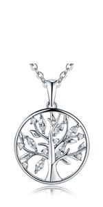 Collana con albero della vita, in argento Sterling 925, con zirconia cubica, motivo: albero genealogico della vita, Yggdrasil