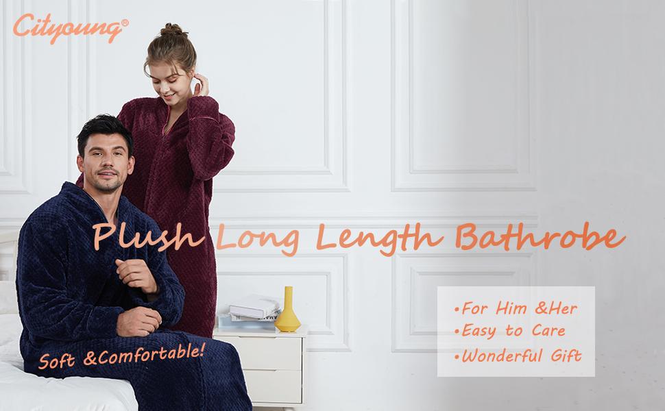 plush fleece long length bathrobe