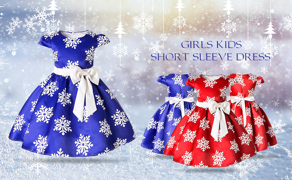 FYMNSI Kids Christmas Dress Little Big Girl Snowflake Print Bowknot Xmas Party Princess Pageant Formal Tutu Dresses A-line Pleated Skirt Cap Sleeve Wedding Holiday Festival Clothes for 2-11Y