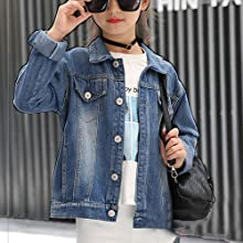 embroidered denim jacket cotton coat for girls