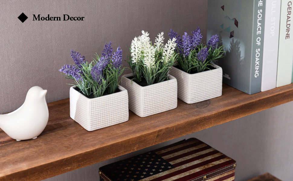 Assorted Color Artificial Lavender Flower Plants in White Textured Ceramic Pots