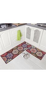 kitchen throw rug set