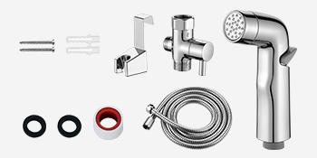 Cloth Diaper Sprayer;  Stainless Steel Hose;  Shut off valve; Bidet holder hook;  Accessories set