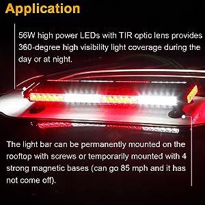 waterpoof 12V 24V red white LED strobe warning light bar
