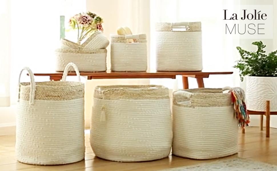 woven basket storage organizer laundry hamper