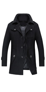 Men's Winter Solid Single Breasted Thicken Warm Wool Blend Pea Coat