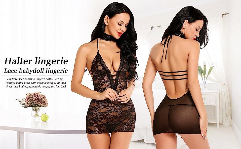 Details about  /Avidlove Women Lingerie Lace Chemise Sleepwear Babydoll Teddy Lingerie