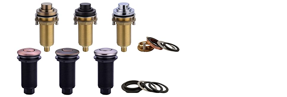 for Garbage Disposal SINKINGDOM SinkTop Air Switch Kit with Antique Copper Long Button Single Outlet Full Brass