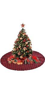 Christmas Tree Skirt Red and Black Plaid Knit Christmas Tree Skirt Decoration Ornaments Holiday