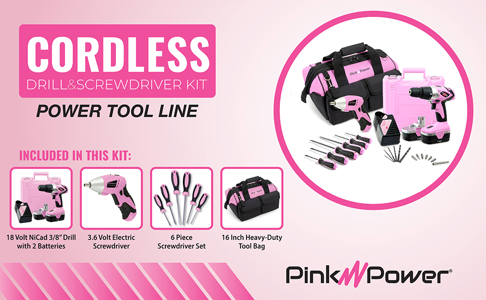 Pink Power Drill and Screwdriver Combo Kit with Tool Bag