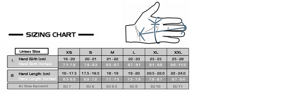 sizing chart Ipsoot hand length winter photography photography gloves vallerret