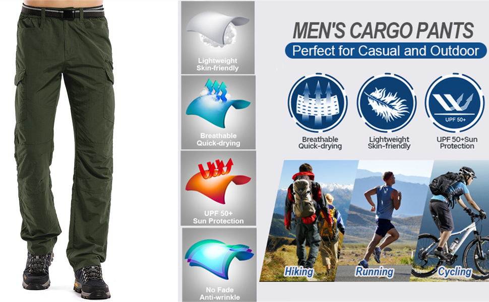 Men's Outdoor Breathable Quick Drying Lightweight Cargo Ripstop Hiking Pants