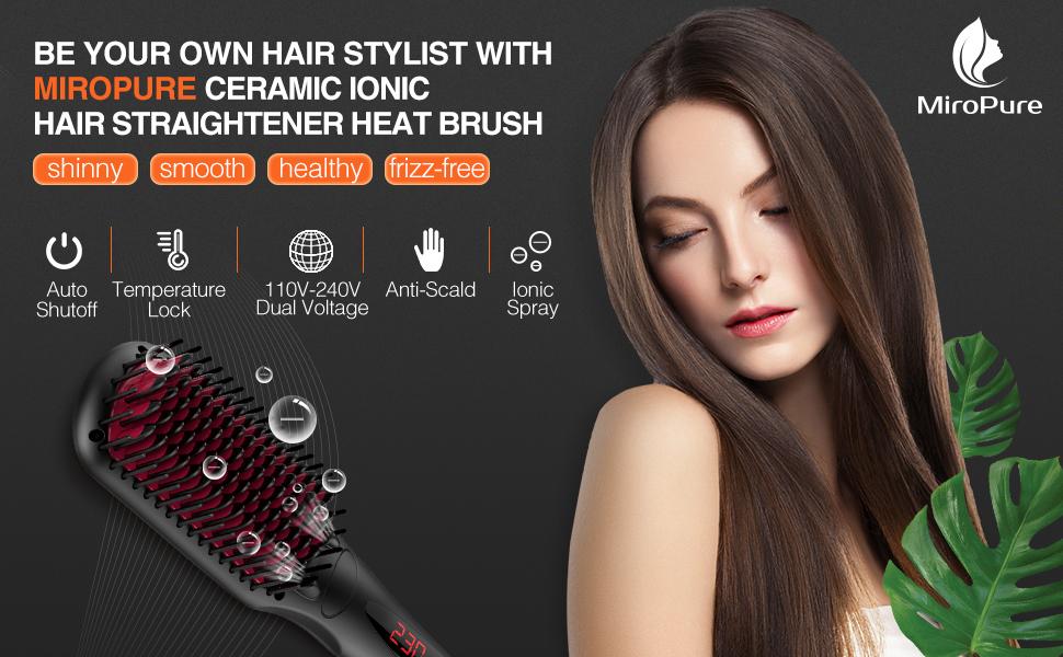 cameramic ionic hair straightener brush