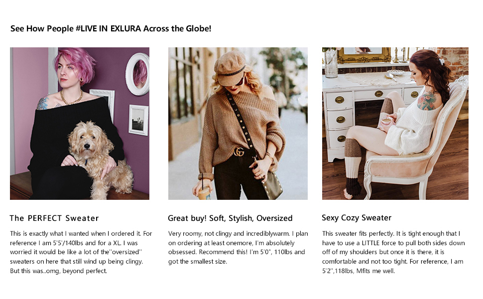 Exlura Women's Off Shoulder Batwing Sleeve Loose Oversized Pullover Sweater Knit Jumper Khaki
