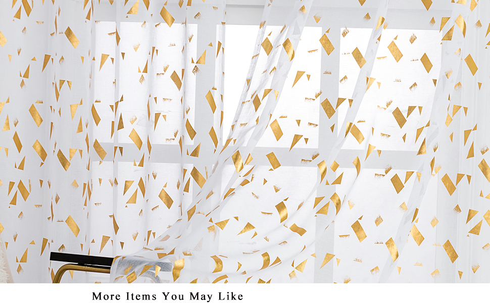gold confetti white sheer curtains for bedroom wall decor