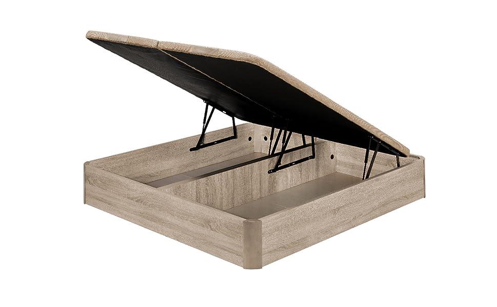 Santino Canapé Abatible Wooden Gran Capacidad Nogal 180x200 cm con Montaje a Domicilio Gratis