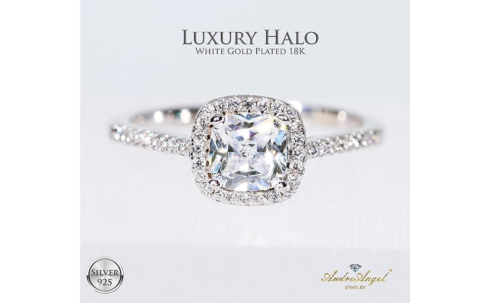 3 Carat Diamond Alternatives Engagement Promise White 14k Gold over 925 SS