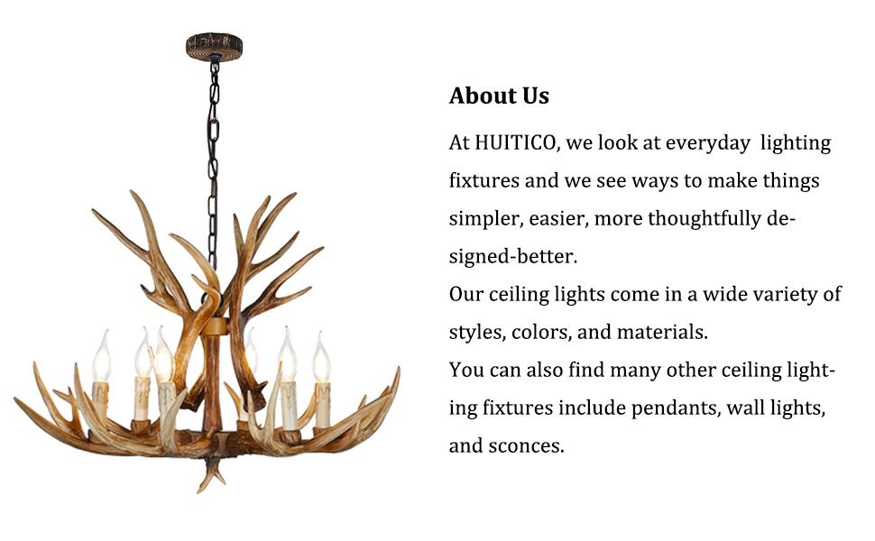 Resin Antler Chandelier⸴ Deer Horn 6 Light Vintage Style Ceiling Light American Rural Countryside