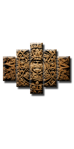 aztec mayan ancient mexican religion symbol culture vintage calendar poster viking brown retro