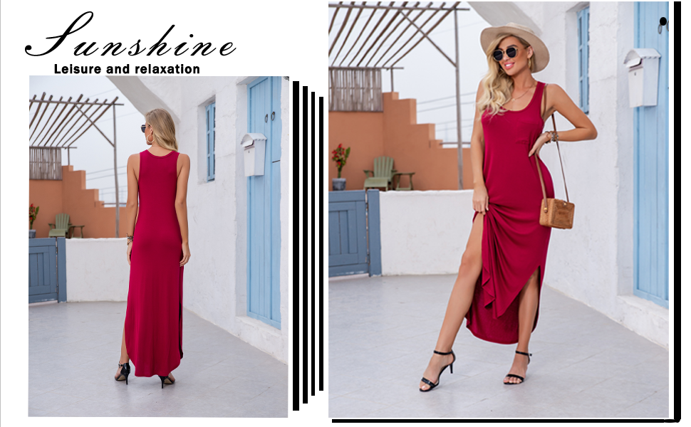 GRECERELLE Women's Casual Fit Long Dress Sleeveless Racerback Split Fashion Maxi Dresses With Pocket