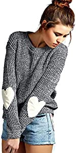 Women's Heart Pattern Elbow Patchwork Round Neck Pullover