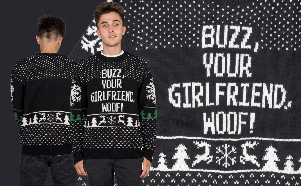 Adult Movie Home Alone Buzz Your Girlfriend Woof Ugly Christmas Sweater