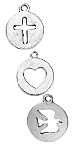 circle cut out cross heart dove charm pendant