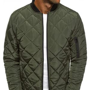 Pengfei Mens Jackets Bomber Varsity Diamond Quilted Fall Winter Coats Outwear