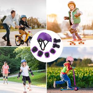purple kids helmet protective gear set