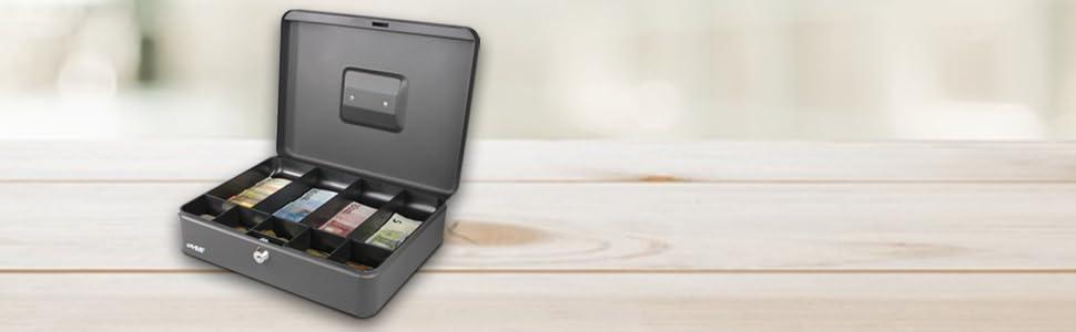 HMF 10019-02 Caja de caudales con compartimientos para monedas y ...