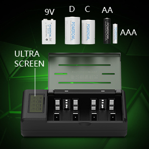 POWROWL Universal Cargador de Pilas para AA AAA CD 9V NI-MH NI-CD Batería Recargable con Pantalla LCD y Funciones de Descarga, Puertos de USB