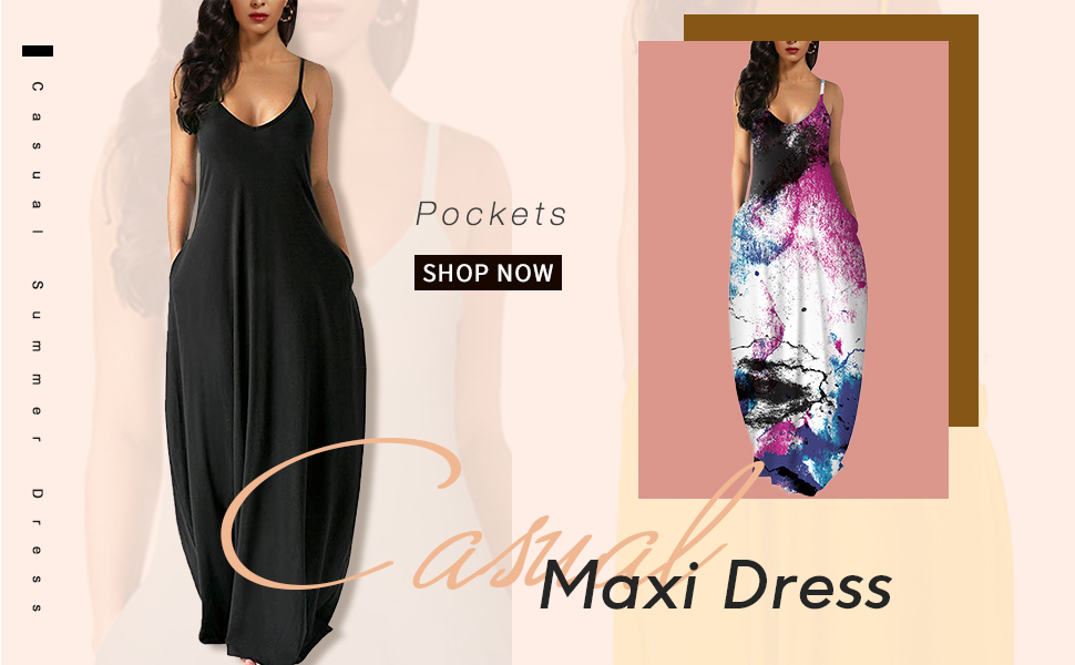Casual Maxi dresses with Pocket